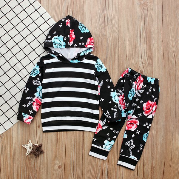 kids toddler baby girls clothes tops hoodies hooded long sleeve sweatshirt pants 2pcs cute girls clothing outfits set