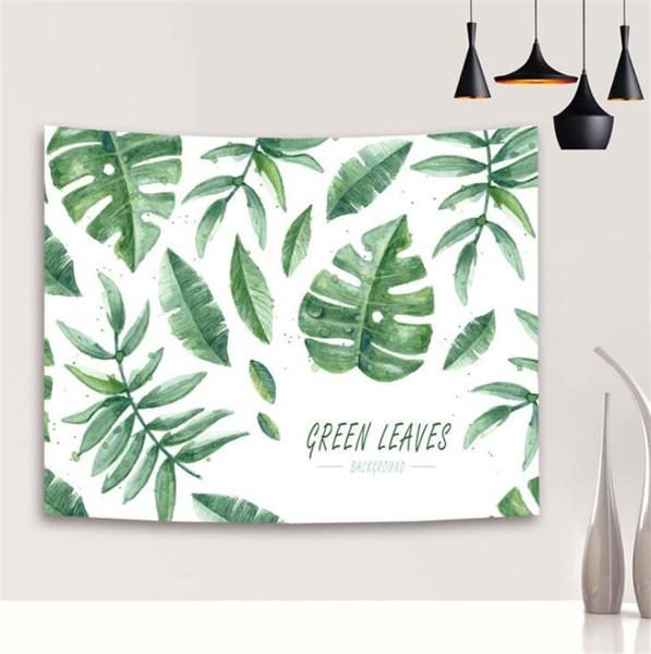 Green Plants Pattern Yoga Mat Durable Rectangle 3D Digital Printed Beach Towel Polyester Fiber Wall Tapestry Modern