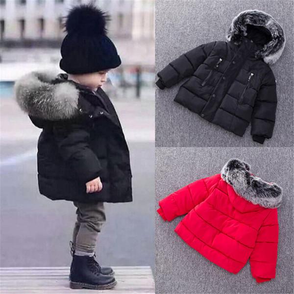 Großhandel Neue Kinder Daunenjacke Winter Warme Jacken Mit Fell Jungen Mädchen Solide Mantel Mit Kapuze Winterjacke Kind Kleidung Mantel Von