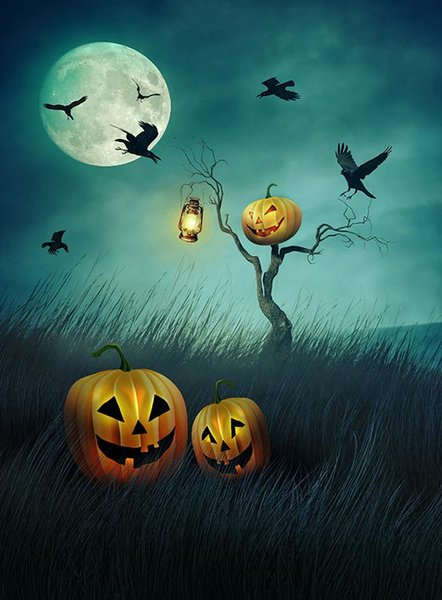 2019 Halloween Backdrops For Kids Evil Pumpkins Horror Night Photophone For A Photo Fond Studio For Portrait Foto Vinyl Photography From