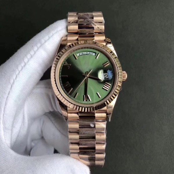 2018 novo aaa luxo luxo pulseira de aço inoxidável dos homens movimento automático pulseira domingo calendário de presente de luxo caixa de relógio