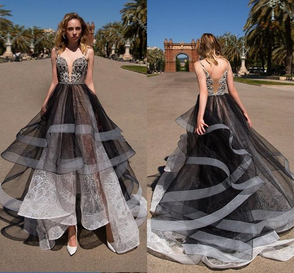 31f1b7c649c26 Black White Lace Tulle Asymmetrical Prom Dresses Spaghetti Straps Illusion  Bodice Backless Spring Prom Dresses Evening Gowns Maternity Evening Dresses  ...