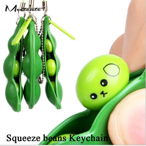 Meetcute Funny Cute Squeeze the beans Key Chain Green Soybeans Plastic Anti Stress Toys Keychain For Phone Gift Anime Trinkets