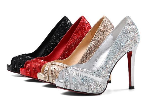 sexy stiletto heel peep toe fish mouth platform diamond sliver white color bridal wedding party shoes 492