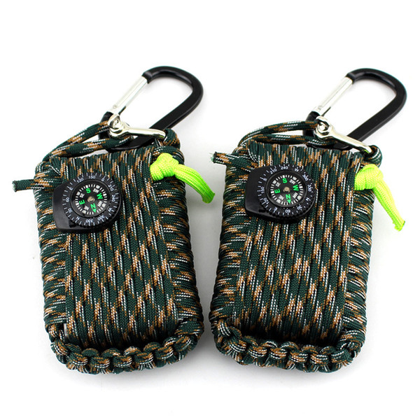 Without fire start! 21 In1 Multifunction Outdoor Fishing Survival Kit Parachute Cord First Aid Emergency Survival Tools
