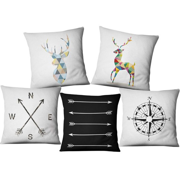 Nordic Elk Geometry Pillow Cover Arrowhead Compass Linen Cushion Simple  Modern Sofa Pillow Cover Decoration Throw Pillows Cushion Covers  Replacement ...