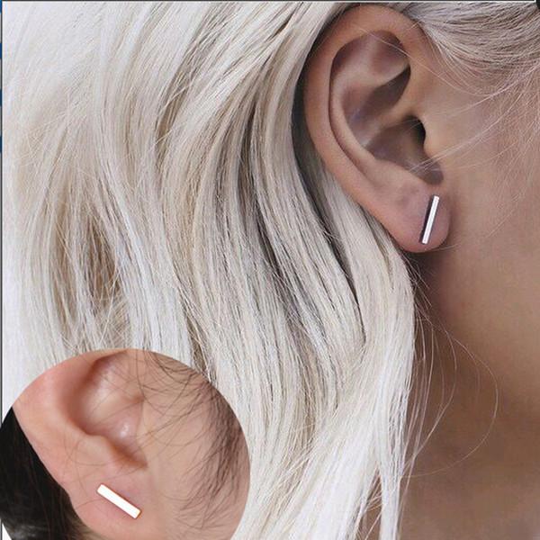 2018 Moda oro argento punk semplice T Bar orecchini per le donne orecchini orecchio gioielli gioielleria geometria donne orecchino