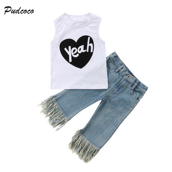 Pudcoco Fashion New Toddler Kids Girls Summer Outfit Sleeveless Heart Print Vest T-shirt Top+Tassel Jean Denim Pant 2PCS Clothes Y1892706