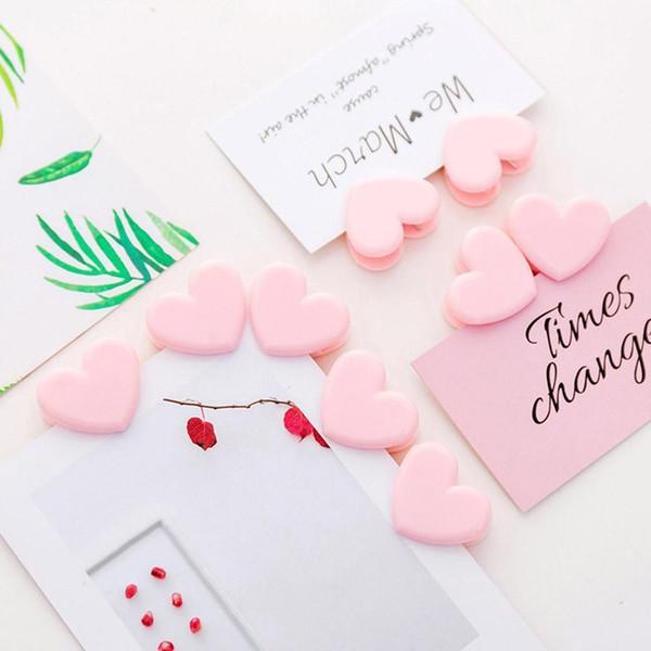 1pz a forma di cuore di colore rosa Mini clip legante di plastica Note Lettera di clip di carta Forniture per ufficio File Binder Scuola forniture per ufficio