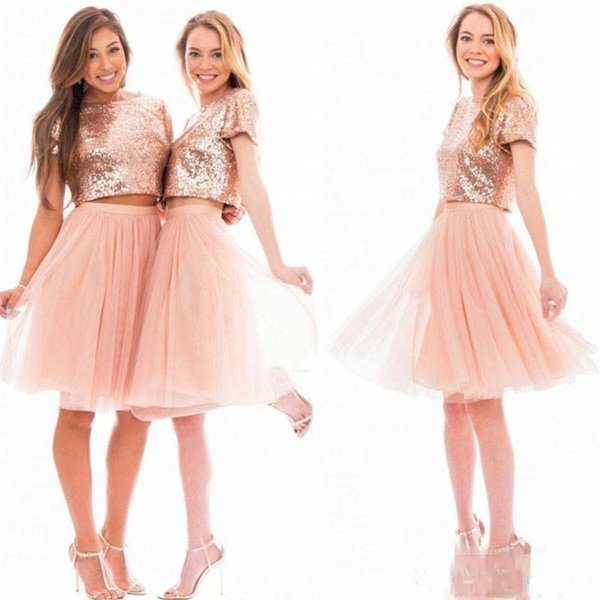 2018 Sparkly Blush Pink Rose Gold Sequins Bridesmaid Dresses Cheap Short Sleeve Junior Two Pieces Prom Party Dresses Homecoming Dresses
