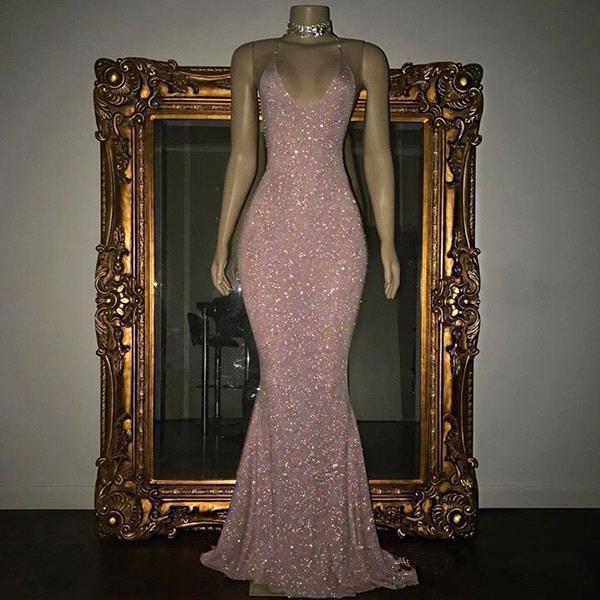 Sexy Bling Pink Vestidos de baile Spaghetti Correas de lentejuelas sin respaldo Trompeta Sirena Vestidos de noche formales Vestido del desfile