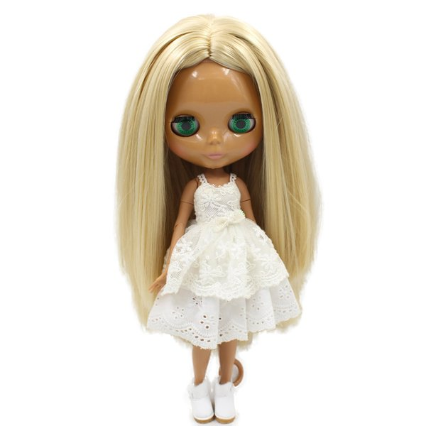 nude blythe ICY Nude Blyth doll No.538 Blonde hair without bangs JOINT body Chocolate skin Factory Blyth