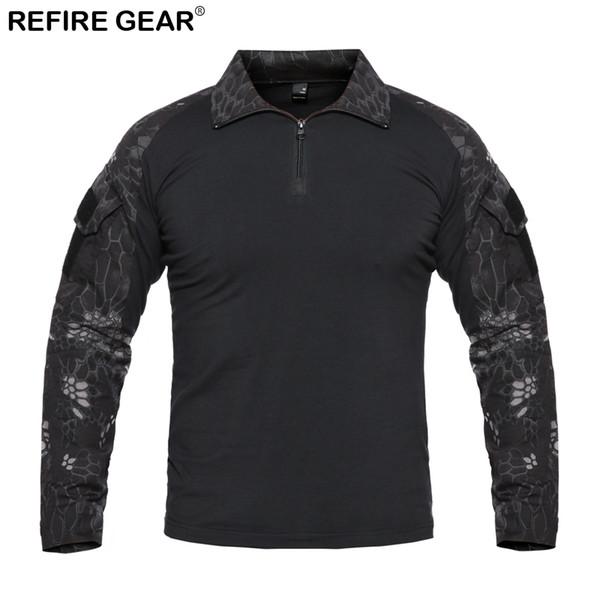 Refire Gear Autumn Outdoor T-shirt Men Long Sleeve Camouflage Hiking Camping Shirt Camping Hunting Tactical Shirt