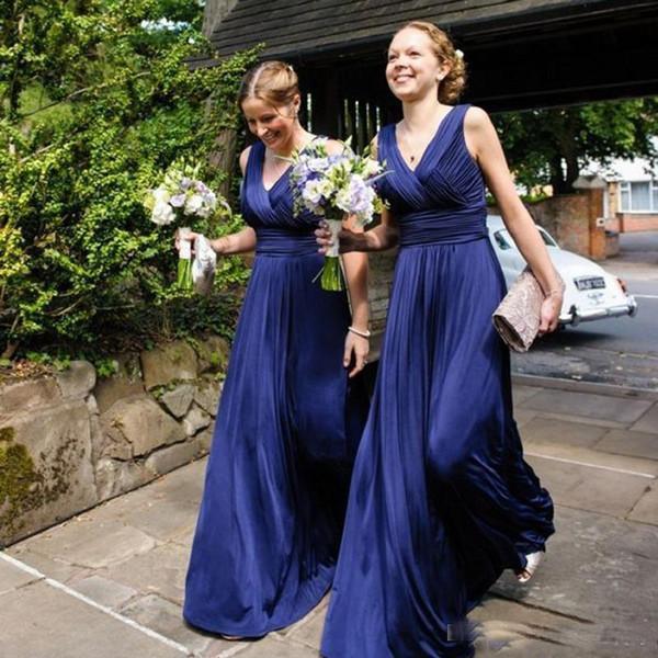 élégantes robes de demoiselle d'honneur longues bleu royal de plancher de col en V sexy solent le maître de robes d'honneur personnalisées