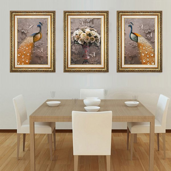 New Pattern 5D Diamonds Picture European Restore Ancient Ways Hand Three-dimensional Safety Auspicious Peacock Triple Decoration Painting