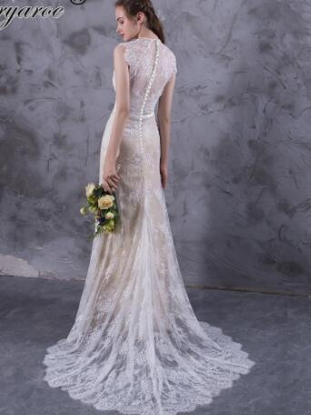 Mryarce Exquisite Lace Wedding Dresses Boho Cap Sleeve High Low Hem Wedding Dress With Button Back vestido de noiva