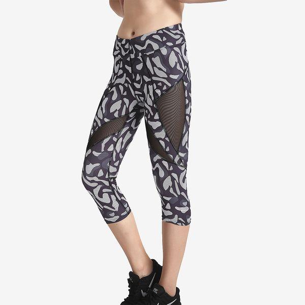 JIGERJOGER 2018 Spring New black grey leopard print Side mesh patches women hot yoga capris shorts leggings free drop shipping