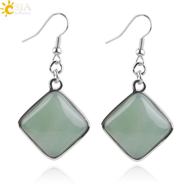 CSJA Geometry Diamond Shape Natural Stone Pendant Dangle Earrings Girls Women Jewelry Square White Blue Turquoise Howlite Rose Quartz E163