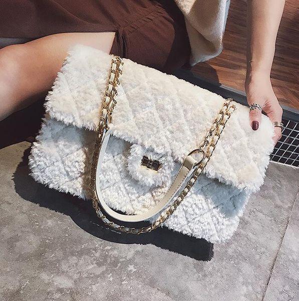 outlet brand women handbag winter new soft and comfortable plush women shoulder bag fashion diamond chain bag gold buckle womens messenge