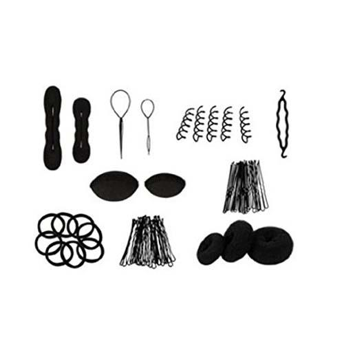HTHL-Hairknots Manufacturers Roller Pigtail Twist Rubber bands Pens Hair Design Tools Set Black