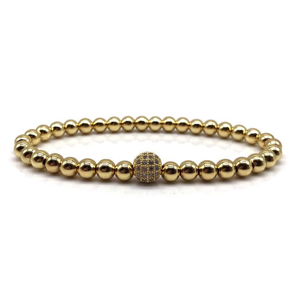 2018 Brand Fashion New Men Bracelet 6mm Copper Beads Pave Black CZ 8mm Ball Charm Bracelet Jewelry Yoga Pulsera Hombres 2185