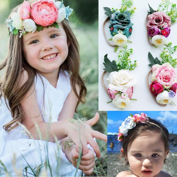 4 colors baby girl hairbands exquisite headband cute Stereo Flowers Design Headbands kids Baby Hair Accessory