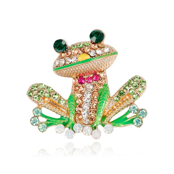 High Qulaity Crystal Brooches Pins For Women Mens Clothes Scarf Bag Green Frog Animal Broach Rhinstone Broche European United State Style