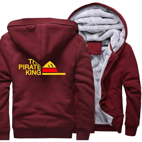 ONE PIECE Print Hoodies For Men2018 Chaqueta de polar de invierno THE PIRATE KING Streetwear Sudadera de moda Zipper Thick Anime Coats