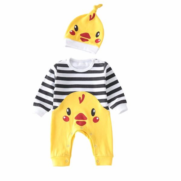 Bahar Sonbahar Rahat Bebek Çocuk Giyim Setleri Pamuk Yumuşak Güzel Küçük Tavuk Çizgili Oğlan Kız Tulum + Kap 2 Adet Bebek Kostüm