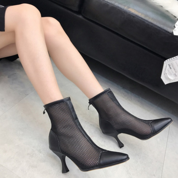 New round Toe women shoes air mesh Ankle boots fashion Cut outs breathable ladies shoes square head thin heel