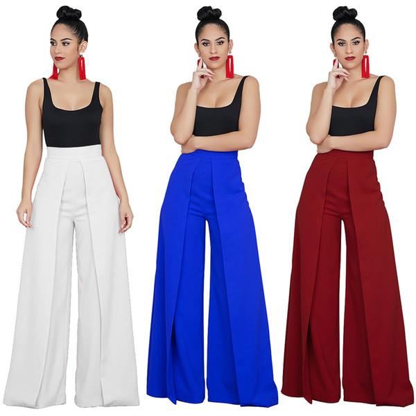 High Street Loose Palazzo Pant Office Lady Wide Leg Trousers 2018 Women Elegant OL Style Fashion Pants