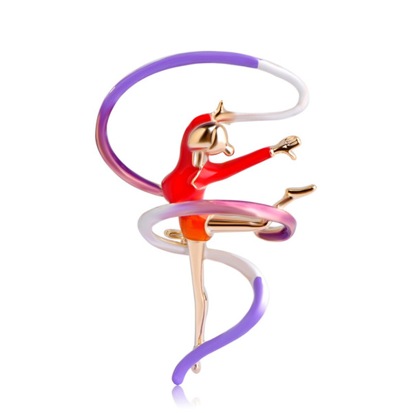Ginnastica sportiva all'ingrosso Girovagando per ragazze Spilla a nastro color oro Sciarpa fibbia Spille smaltate Lady Donna Hijab Pins Bijoux