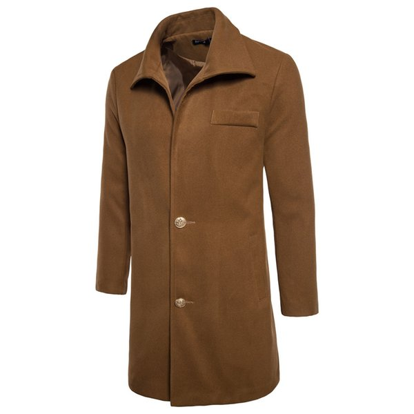 Männer Trenchcoat 2018 Herbst lange Windjacke Winter neue Männer beiläufige dicke lange Hülse einfarbig Jacke Mantel Europa Größe XXL