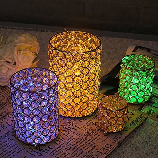 4 Sizes Cylinder Glass Tealight Candle Holders Metal Cup Crystal Stand Vases for Home Holiday Wedding Party Decoration Centerpieces