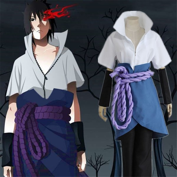 2018 Free Shipping Adult Kid Naruto Uchiha Sasuke Cosplay Costume Custom Made Unisex Outfits with Skirt Halloween Clothing