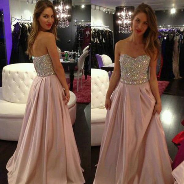 Pink Sweetheart Off Shoulder 2019 vestido de fiesta con cuentas de cristal sin mangas largos vestidos de noche vestidos de fiesta