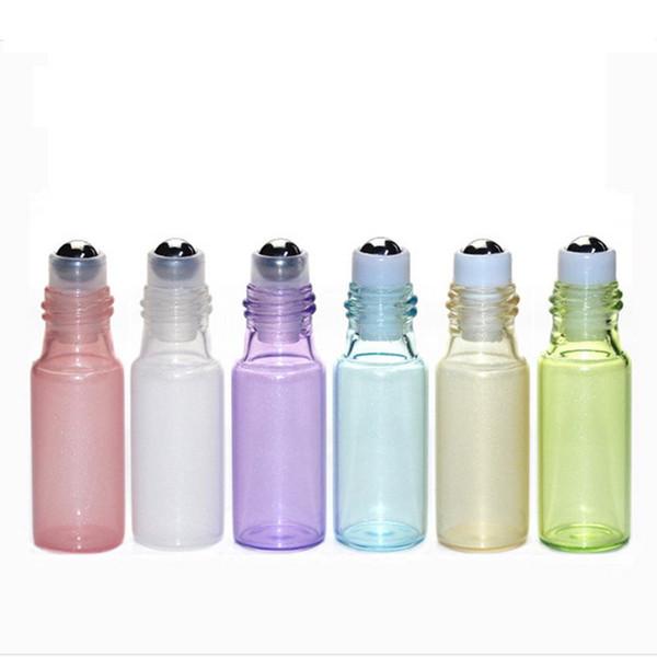 5ml Glass Roll On Bottle Pendant Pearl Lustre Color Rollon Metal Roller Ball Bottle Essential Oil Liquid Fragrance Key Chain