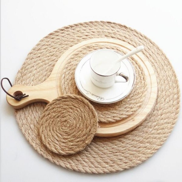 Wholesale Circle Cup Mug Pad General linen weaving mat Handcraft for Restaurant Home Coffee Shop Table Decoration Crafts
