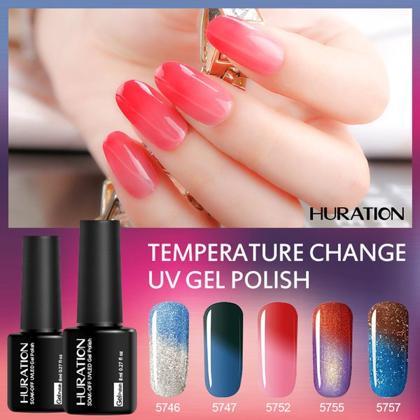 Huration Temperature Change Manicure 8ml Nail UV LED Soak Off Mood Change Thermo Gel Nail Polish Top and Base Coat Gel Varnish