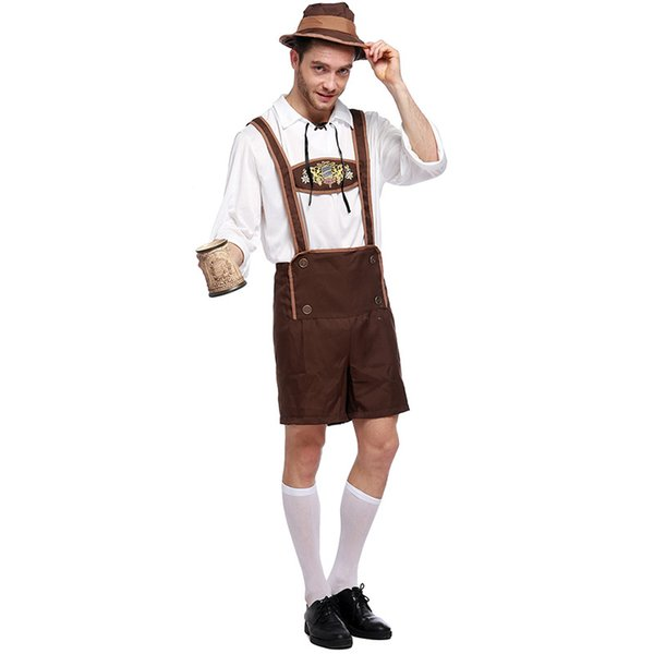 Oktoberfest Lederhosen with Suspenders Costume For Man Halloween Costumes Party Size S M L XL XXL