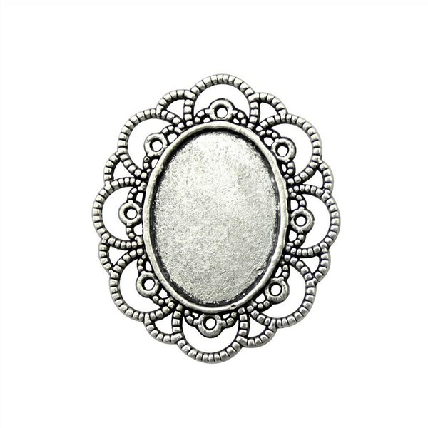9 Pieces Cabochon Cameo Base Tray Bezel Blank Wholesale Lots Bulk Hollow Flower Edge Inner Size 18x25mm Oval Necklace Pendant Setting