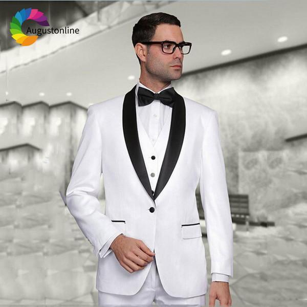 Custom White Men Suit Wedding Suits for Men Black Shawl Lapel Blazer Masculino 3Piece Jacket Pants Vest Slim Fit Groom Tuxedo