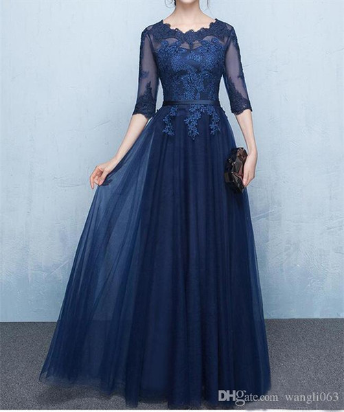 Navy Blue Lace Mother of the Bride Dresses with Half Sleeves Sheer Applique Lace-up Back Floor Length Formal Evening Gowns
