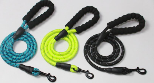 Nylon Pet Dog Lead Puppy Walking Running Slip Collar Rope Strap Training Leashes Reflective 150cm length Suits Medium Breed Dogs colorful