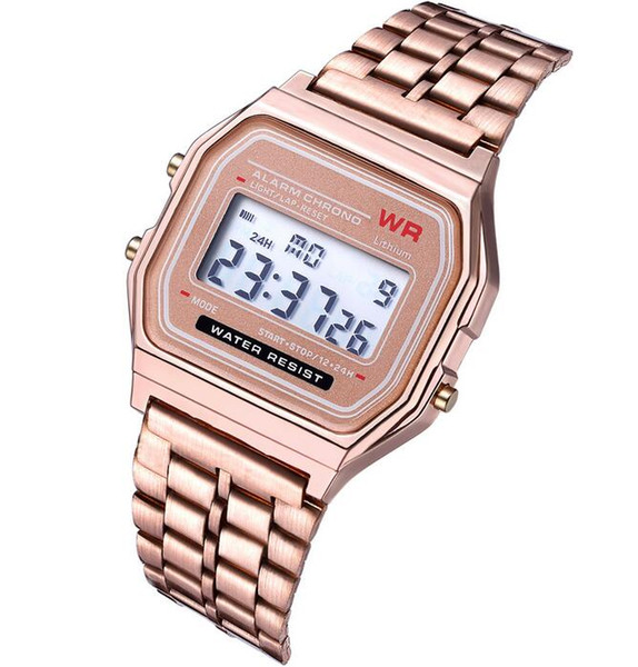 top popular Smart watches A159W watches Mens Classic Stainless Steel Digital Retro Watch Vintage Gold and Silver Digital Alarm A159W Sports Watches 2020