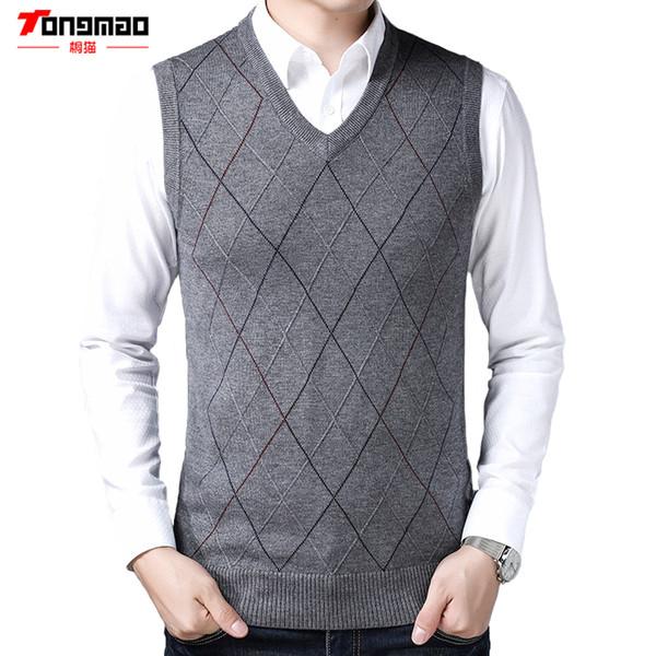 e4fe40877f6903 TONGMAO Marke Herrenbekleidung V-Ausschnitt ärmellose Herren Pullover  Herbst Business Casual Strick Weste Hochwertige schlanke