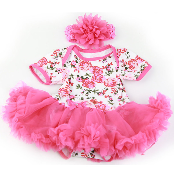 Handmade Baby Doll Accessories Design for 20 -22 inch Reborn Baby Doll Rose Pink Dress with Headdress Girl Clothes Sets