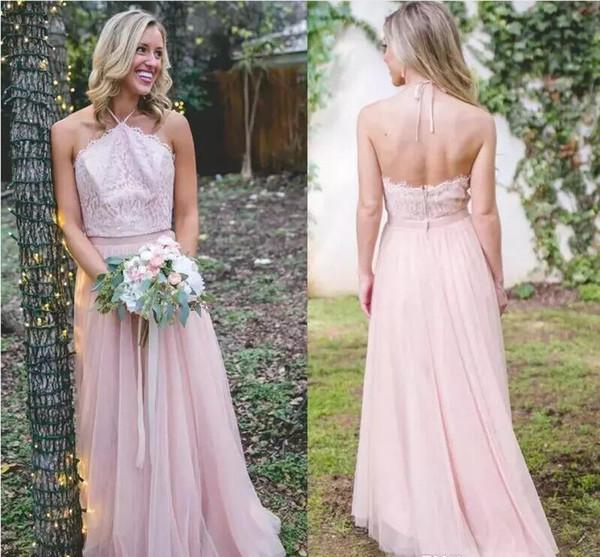 16. 2019 Neueste Brautjungfernkleider A Line Lace Top Neckholder Backless Trauzeugin Kleider Western Country Wedding Guest Dress
