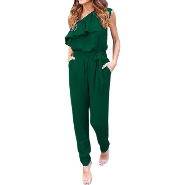 Wholesale- Ruffles Chiffon Jumpsuits Plus Size Overalls Sexy Casual Summer Women One Shoulder Long Playsuits Rompers Womens Jumpsuit GV608