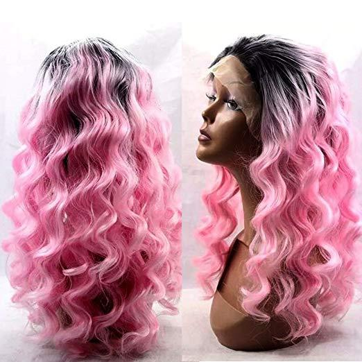 Ombre Color 1B Pink Wave Glueless Full Lace Wig Dark Roots 1B Pink Color Human Hair Lace Front Wig With Baby Hair